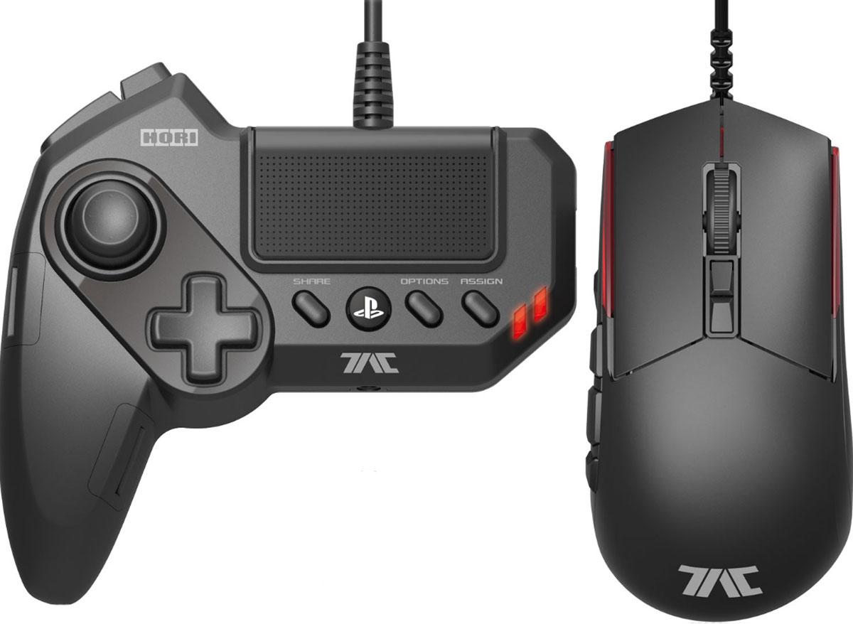 Hori T.A.C. Grips геймпад + игровая мышьACPS479Hori T.A.C. Grips - профессиональный игровой комплект, состоящий из геймпада для левой руки и мыши с высоким разрешением сенсора, разработанный специально для PS3 или PS4. Позволяет сделать управление игровой консолью похожим на управление игровым компьютером в плане использования мыши. Отличная мышь с оптическим сенсором, программируемые клавиши геймпада и сенсорная панель - всё, что нужно заядлому геймеру.Переназначаемые кнопкиОфициальная лицензия Sony