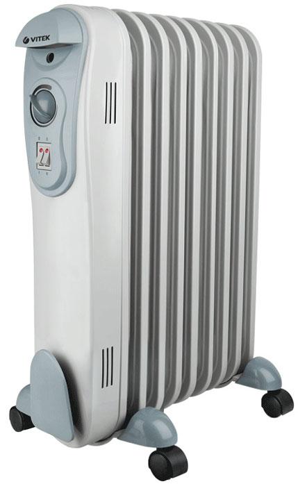 Vitek VT-2122(GY) радиаторVT-2122(GY)Масляный радиатор Vitek VT-2122(GY) имеет классический тип секций и элегантный дизайн. Колесики предназначены для удобного перемещения обогревателя. Радиатор оборудован устройством для намотки сетевого шнура и имеет три ступени мощности нагрева, встроенный регулируемый термостат. Vitek VT-2122(GY)снабжен механизмом защиты от перегрева и замерзания.