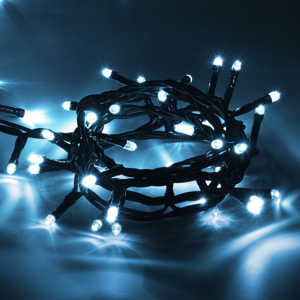 Гирлянда электрическая Vegas Нить, с контроллером, 50 ламп, длина 5 м, свет: холодный. 5506055060Светодиодные гирлянды для домашнего пользования VEGAS Электрогирлянда Нить 50 холодных LED ламп, контроллер 8 режимов, зеленый провод, 5 м, 220 v /20