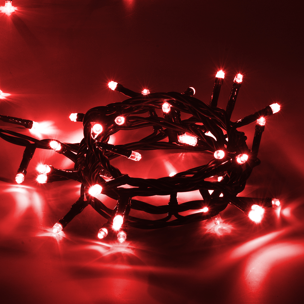 Гирлянда электрическая Vegas Нить, с контроллером, 100 ламп, длина 10 м, свет: красный. 5506555065Светодиодные гирлянды для домашнего пользования VEGAS Электрогирлянда Нить 100 красных LED ламп, контроллер 8 режимов, зеленый провод, 10 м, 220 v /20