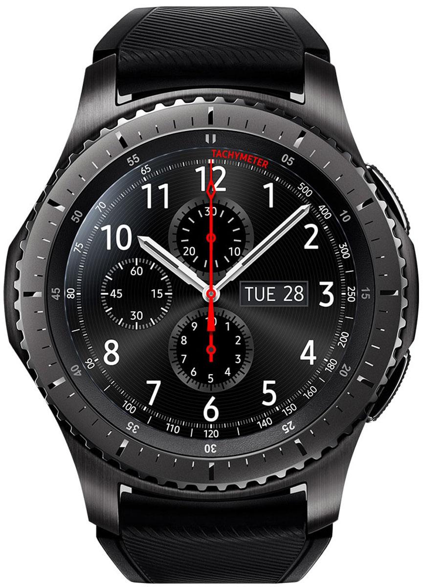 Samsung Gear S3 Frontier, Dark Grey смарт-часыSM-R760NDAASERВедите активный образ жизни вместе с Samsung Gear S3 Frontier. Умные часы объединяют в себе исключительный стиль и надежность. Оснащенные корпусом из сплава нержавеющей стали 316L, защищенные от ударов, они работают даже при высоких и низких температурах. Лазерная гравировка на рифленом безеле не только подчеркивает уникальный дизайн, но и делает их использование более удобным.Gear S3 Frontier вобрали в себя все самое лучшее от традиционных часов и инновационных устройств. Достаточно одного взгляда, чтобы оценить их потрясающий дизайн. А удобный ремешок, уникальный крутящийся безель, четкий циферблат и мощный аккумулятор делают смарт-часы такими удобными в использовании и позволяют пользоваться ими до 4-х дней без подзарядки.Обновленный полноцветный всегда активный экран практически неотличим от классического циферблата. Выбирайте интерфейс, который подходит вам. В часы уже загружены 15 вариантов дизайна экрана, а в Galaxy Apps вы найдете еще больше!Наслаждайтесь простотой использования Gear S3 Frontier. Управляйте уведомлениями, регулируйте громкость, отвечайте на звонки, просто вращая безель в левую или правую сторону. Вы можете легко управлять своими часами даже мокрыми руками или в перчатках.Позвольте Gear S3 Frontier быть вашим смартфоном. Встроенный динамик и микрофон дают возможность совершать и принимать звонки без вашего смартфона и прослушивать голосовые сообщения и напоминания. Кроме этого, вы можете наслаждаться любимыми треками благодаря встроенному музыкальному плееру.C Gear S3 Frontier вы больше никогда не собьетесь с намеченного маршрута даже без смартфона. Благодаря встроенному GPS доступна возможность строить пешие маршруты, вычислять расстояние до пункта назначения, и даже находить поблизости лучшие кафе и рестораны.Подключите ваши Bluetooth-наушники и слушайте любимые треки во время тренировок и поездок! 4 ГБ внутренней памяти в Gear S3 Frontier позволят брать любимую музыку с собой даже