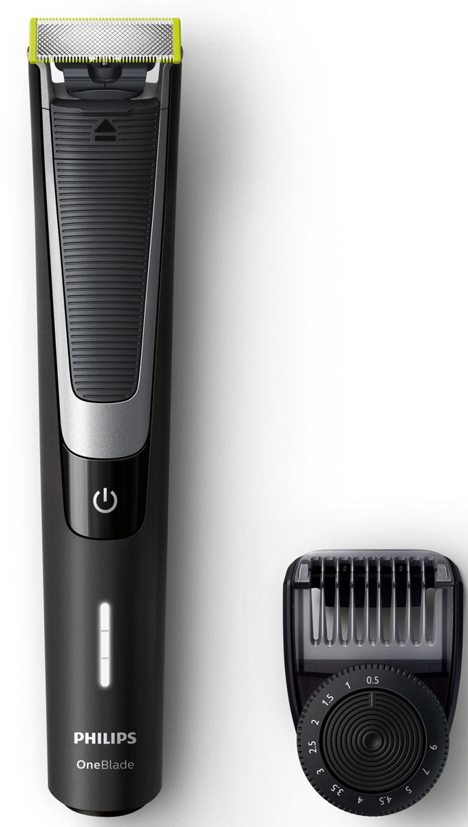 Philips OneBlade Pro QP6510/20 с 12 установками длиныQP6510/20Philips OneBlade Pro - это новый революционный гибридный стайлер для подравнивания, создания четких контуров и бритья щетины любой длины. Забудьте об использовании множества устройств в несколько этапов.Philips OneBlade Pro - это революционная электрическая технология, созданная для мужчин, которые носят щетину или бороду. OneBlade подравнивает, делает контуры и бреет щетину любой длины. Уникальная технология OneBlade состоит из быстро двигающегося режущего блока,который совершает 200 движений в секунду, и системы двойной защиты. Они обеспечивают эффективное и комфортное бритье даже самойдлинной щетины. OneBlade сбривает щетину не слишком близко к коже для комфортных ощущений от бритья.Подравнивайте бороду до точной равномерной длины с помощью прилагаемого регулируемого гребня. Выберите одну из 12 фиксируемых установок длины и создавайте любой понравившийся образ: от эффекта легкой небритости до более небрежного стиля и длинной бороды.Лезвия разработаны для долговечной работы. Для поддержания оптимальных результатов заменяйте лезвия раз в 4 месяца. Выполнять замену лезвий очень легко.OneBlade Pro водонепроницаем, так что его очень легко очищать, достаточно сполоснуть водой под краном. Вы также можете выбирать любой способ бритья - с пеной или сухое бритье.