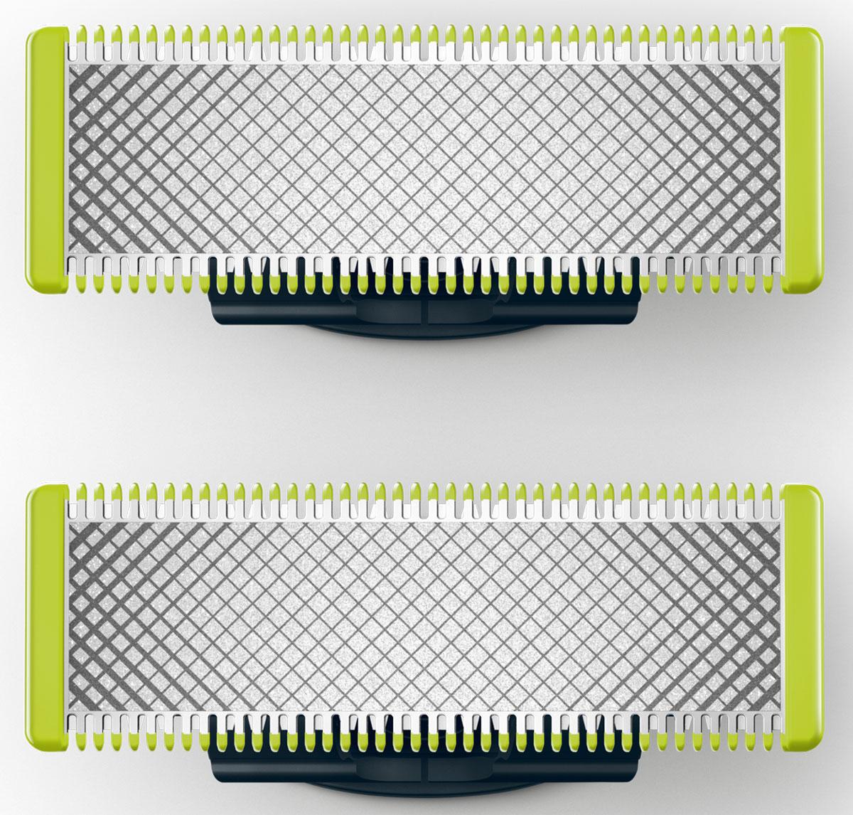 Сменные лезвия Philips QP220/50 для OneBlade и OneBlade Pro, 2 шт.QP220/50Сменное лезвие для Philips OneBlade прослужит до 4 месяцев при бритье в среднем два раза в неделю, а заменить его очень легко!Philips OneBlade - это новый революционный гибридный стайлер для подравнивания, создания четких контуров и бритья щетины любой длины. Забудьте об использовании множества устройств в несколько этапов.Philips OneBlade - это революционная электрическая технология, созданная для мужчин, которые носят щетину или бороду. OneBlade подравнивает, делает контуры и бреет щетину любой длины. Уникальная технология OneBlade состоит из быстро двигающегося режущего блока,который совершает 200 движений в секунду, и системы двойной защиты. Они обеспечивают эффективное и комфортное бритье даже самойдлинной щетины. OneBlade сбривает щетину не слишком близко к коже для комфортных ощущений от бритья.Создавайте четкие контуры с помощью двустороннего лезвия. Для дополнительного удобства и лучшего обзора бритву можноперемещать в любом направлении. Прибор обеспечивает комфортную процедуру даже на чувствительных участках - это простое решениедля быстрого подравнивания, чтобы ваш образ всегда оставался идеальным.Лезвия разработаны для долговечной работы. Для поддержания оптимальных результатов заменяйте лезвия раз в 4 месяца. Выполнять замену лезвий очень легко.OneBlade водонепроницаем, так что его очень легко очищать, достаточно сполоснуть водой под краном. Вы также можете выбирать любой способ бритья - с пеной или сухое бритье.