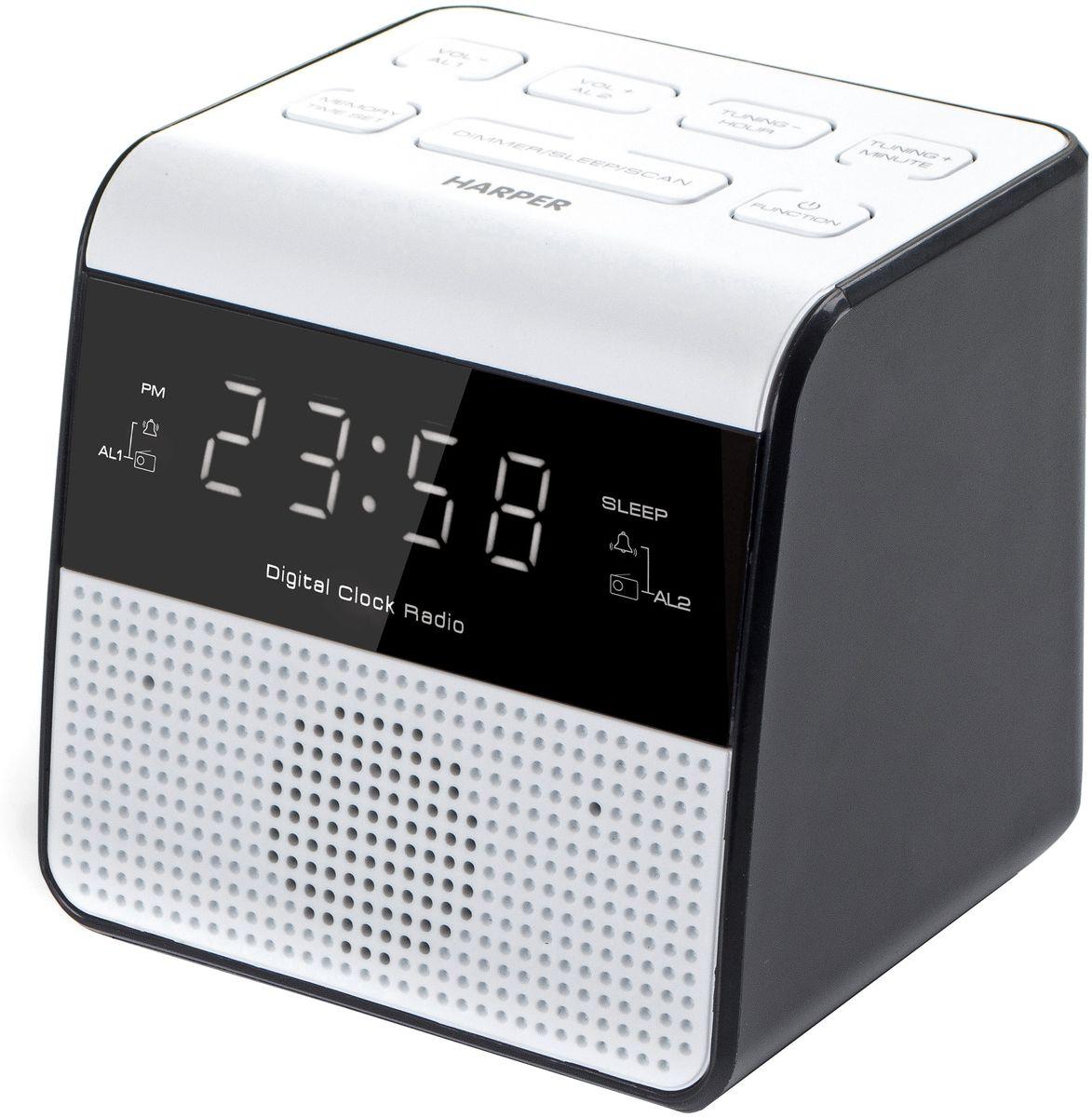 Harper HRCB-7760, White радиобудильникH00001165Harper представляет радиобудильник HRCB-7760 в изящном белом корпусе.Главными особенностями модели являются:- LED дисплей- USB зарядка 1,0А- FM радио (ручная или автоматическая настройка станций)