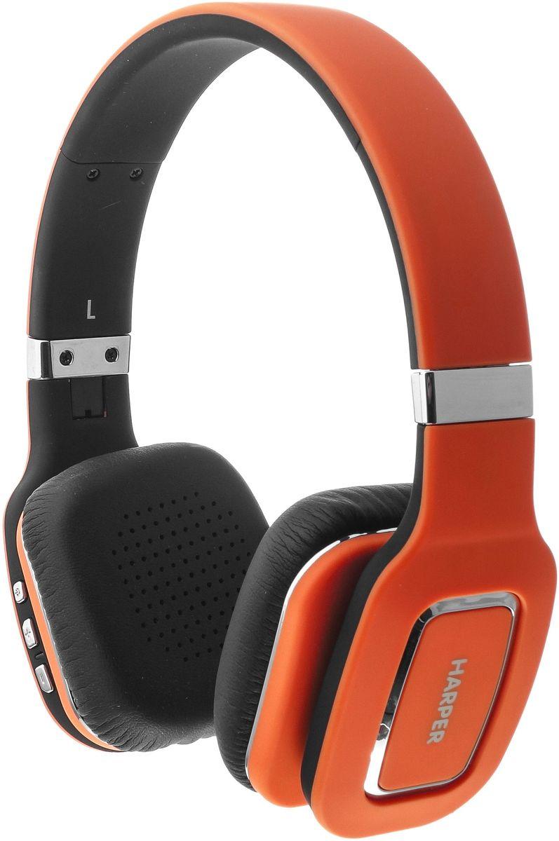 Harper HB-402, Orange наушники00-00000583Harper HB-402 представляют собой беспроводные накладные наушники. Они могут подключаться как по каналу Bluetooth, так и по проводному каналу (в комплекте поставляется AUX-кабель с разъемами 3,5 мм mini-jack).Harper HB-402 совместимы с большинством современных смартфонов, ноутбуков, также другой цифровой техникой, использующей для передачи звука протокол Bluetooth версии 4.0. Радиус уверенного приема сигнала – 10 метров.Встроенного аккумулятора хватит на 10-12 часов прослушивания музыки. В режиме ожидания наушники проработают до 100 часов. Полная зарядка происходит за 3-4 часа (при достаточном токе).Наушники Harper HB-402 оснащены встроенным микрофоном и могут использоваться как беспроводная телефонная гарнитура (опция «Hands-Free»). Три кнопки позволяют: принимать, отклонять или завершать вызов, набирать последний исходящий номер, переключать треки вперед, назад, увеличивать или уменьшать уровень громкости.