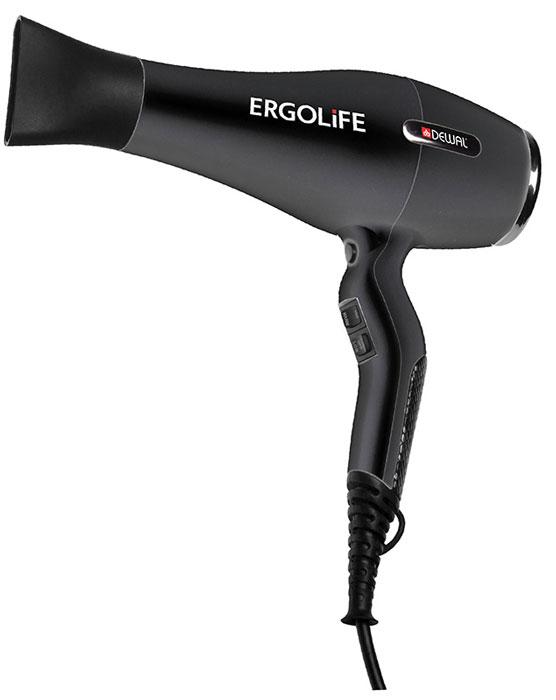 Dewal 03-001 ErgoLife, Black фен03-001 BlackПрофессиональный фен Dewal 03-001 Ergolife выполнен в черном цвете с покрытием Soft Touch. Индивидуальный стиль фена подчеркивают змеиная вставка на ручке и металлические элементы на корпусе. Особенность фена Ergolife - улучшенная эргономика благодаря изогнутой форме ручки. Она создает идеальную сбалансированность, фен очень удобно держать в руках. Кнопки переключения температурных режимов находятся спереди, что дает дополнительное удобство во время работы.Мощный мотор – до 8 часов непрерывной работы;Высокая скорость воздушного потока. Корпус фена разработан с учетом оптимизации расхода воздуха;Защита от перегрева Stop-heat. Защитный механизм на нагревательном элементе фена охлаждает корпус , сохраняет мотор, защищая его от перегрева, а также поддерживает оптимальную температуру для волос.