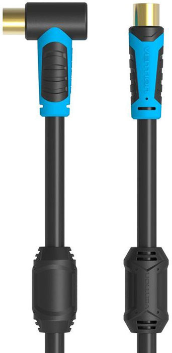 Vention VAV-A02-B150 антенный кабель угловой (1,5 м)VAV-A02-B150Кабель Vention VAV-A02 предназначен для передачи аналоговых высокочастотных телевизионных сигналов, а также коммутации теле-видео устройств по средствам коаксиального разъема.Коаксиальная жила выполнена из высококачественной чистой бескислородной меди, а ферритовые кольца на кабеле обеспечат подавление помех. Удобная угловая форма одного из концов кабеля предоставит возможность для более практичного подключения труднодоступных участков коммутации устройств.