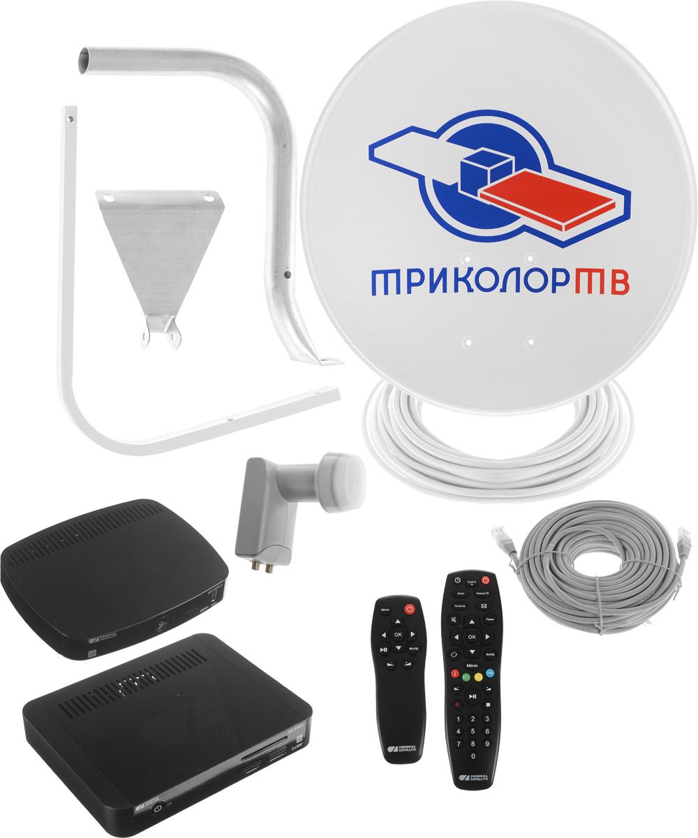 Триколор Сибирь Full HD GS E501 + GS C5911 комплект спутникового телевиденияKTR_E501/C5911_SКомплект цифрового спутникового телевидения Триколор Сибирь Full HD предназначен для подключения двух телевизоров. Основной ресивер GS E501 оснащен двумя тюнерами DVB-S2, с помощью которых осуществляется прием спутникового телевидения в диапазоне 950 - 2150 МГц. Дополнительный ресивер GS C5911 подключается по сети Ethernet, поэтому прокладка антенного кабеля не требуется. Таким образом, используя основной и дополнительный приёмники, можно подключить два телевизора, приобретая один комплект спутникового ТВ.Уважаемые клиенты! Обращаем ваше внимание, что с 01.02.2017 г, все комплекты спутникового телевидения Триколор ТВ, будут комплектоваться скретч-картами включающими в себя недельный тариф на просмотр пакета «Единый».