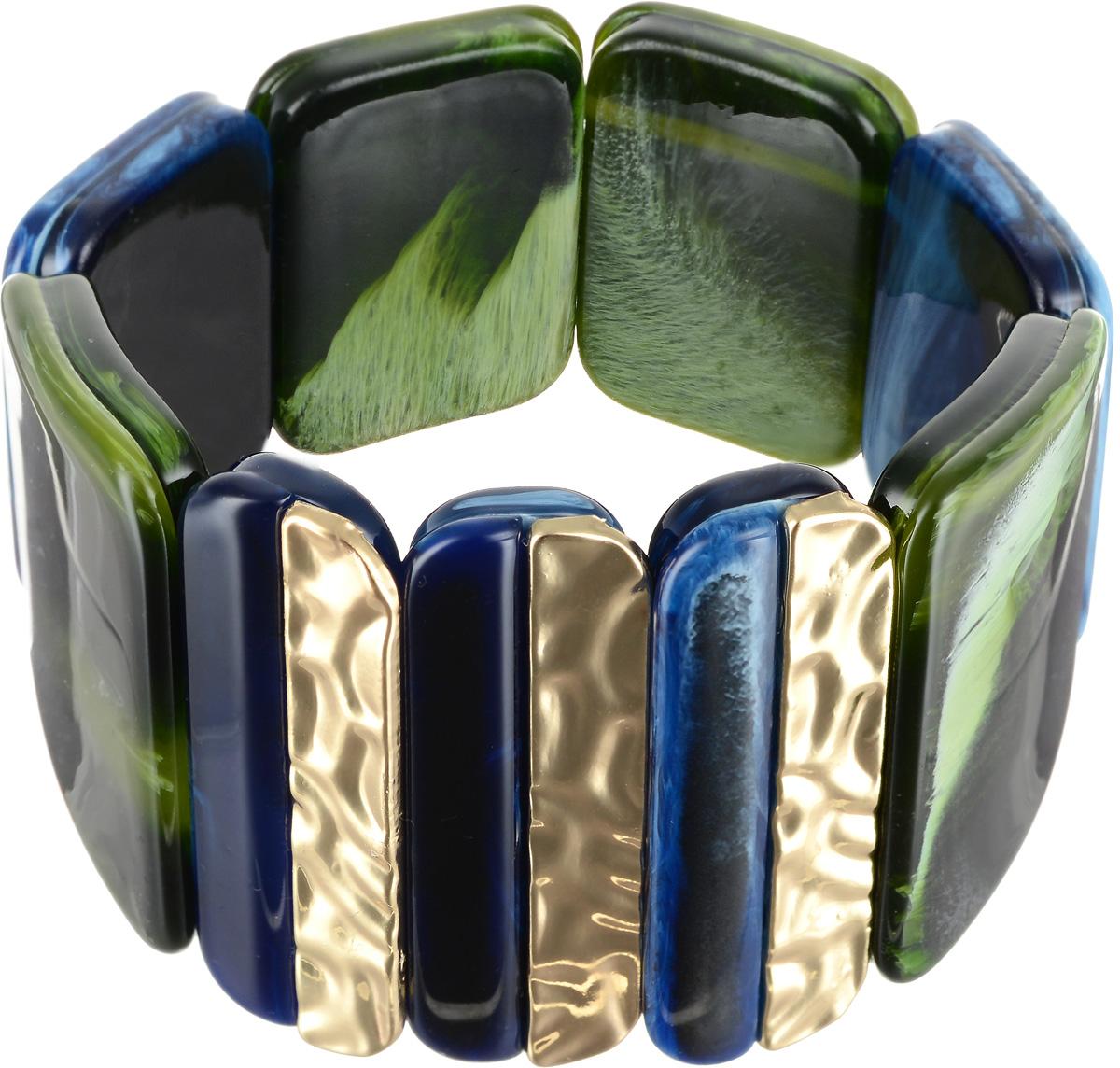 Браслет Selena Accenta, цвет: зеленый, золотистый, синий. 40060600Глидерный браслетБраслет Selena Accenta изготовлен из ацетата и латуни с гальваническим покрытием золотом. Объемная фактура больших плоских бусин на резинке делает женское запястье нежным и хрупким. Итальянский ацетат - это дорогой высококачественный полимер, широко применяемый в модной индустрии. Он обладает удивительной особенностью имитировать самые разные природные рисунки и фактуры. Коллекция Accenta - это гимн современности! Модели выполнены в стиле элегантный кэжуал и глэм-рок, они органично впишутся в образ и молодых девушек, и взрослых женщин, чьи взгляды на моду свежи и открыты новому. Все украшения Accenta комплектуются между собой и создают гармоничный ансамбль. Украшения можно носить в любое время года, они уместны на празднике, на прогулке и на работе.