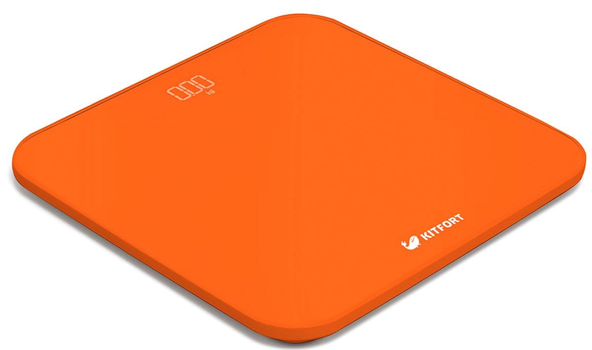 Kitfort КТ-802-4, Orange весы напольныеКТ-802-4Электронные напольные весы Kitfort КТ-802 обеспечат высокую точность измерения и станут неизменным спутником для людей, следящих за своим весом. Весы оснащены большим LED дисплеем с крупными цифрами, что делает их использование максимально удобным. Платформа выполнена из высокопрочного полированного стекла, а прорезиненные ножки обеспечивают весам дополнительную устойчивость и предотвращают их скольжение по полу, что гарантирует безопасность во время взвешивания.Включение и выключение весов Kitfort КТ-802 происходит автоматически. При взвешивании показания весов фиксируются для вашего удобства. При каждом включении весы самостоятельно калибруются и тарируются для обеспечения большей точности показаний. Для электропитания используются 4 батарейки типа ААА.Весы имеют яркий привлекательный дизайн, благодаря чему украсят собой любой интерьер.