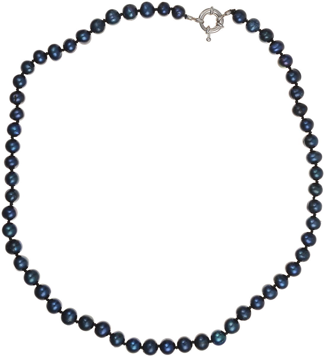 Бусы Art-Silver, цвет: синий, длина 45 см. КЖ7-8А+45-537Колье (короткие одноярусные бусы)Бусы Art-Silver подчеркнут изящество и непревзойденный вкус своей обладательницы. Они выполнены из бижутерного сплава и культивированного жемчуга диаметром 7 мм.Изделие оснащено удобным замком-карабином.Культивированный жемчуг — это практичный аналог природного жемчуга. Бусинки из прессованных раковин помещаются внутрь устрицы и возвращаются в воду. Когда бусины покрываются перламутром, их извлекают из моллюска. Форма жемчужины получается идеально ровной с приятным матовым блеском.