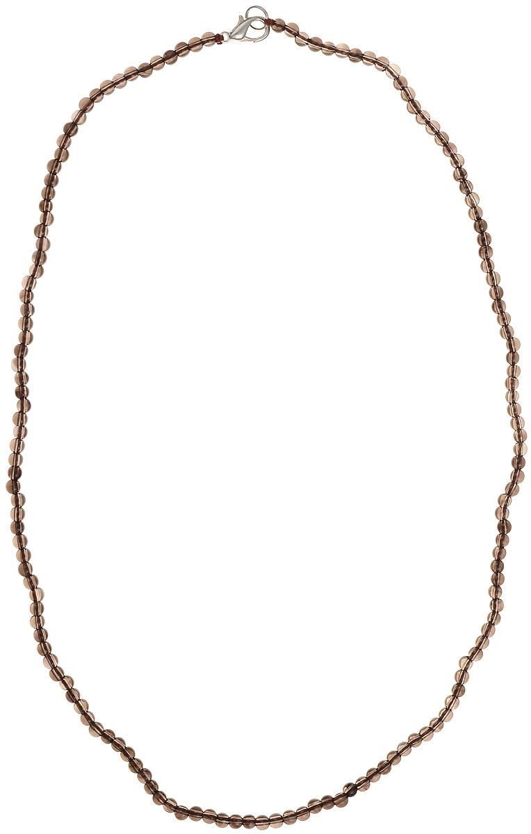 Бусы Art-Silver, цвет: коричневый, длина 55 см. РТ4-55-362Колье (короткие одноярусные бусы)Бусы Art-Silver подчеркнут изящество и непревзойденный вкус своей обладательницы. Они выполнены из бижутерного сплава и раухтопаза диаметром 3 мм.Изделие оснащено удобным замком-карабином.Раухтопаз (дымчатый кварц) является наиболее ценной разновидностью кварца и, по древним преданиям, выводит из организма негативную энергию, злобу и раздражение. Это один из самых «энергетических» темных камней. Минерал отличается необычной природной окраской, обладает особой утончённой эстетикой и аурой. Украшения с раухтопазами всегда смотрятся респектабельно и элегантно.