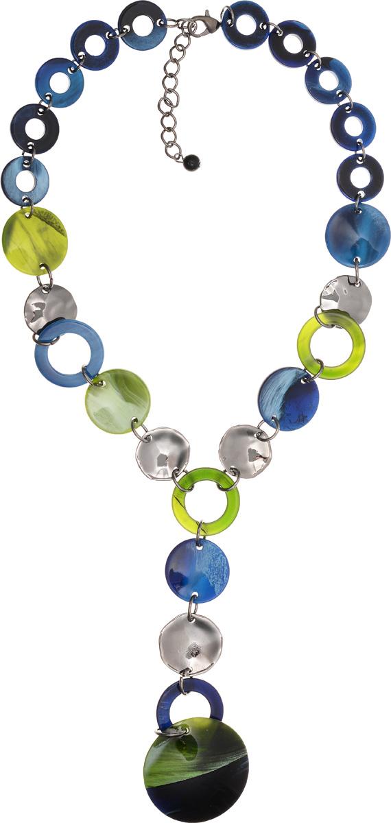 Колье Selena Accenta, цвет: зеленый, синий. 10102661Колье (короткие одноярусные бусы)Колье Selena Accenta изготовлено из латуни с гальваническим покрытием золотом и ацетата. Изделие оснащено удобным замком-карабином. Итальянский ацетат - это дорогой высококачественный полимер, широко применяемый в модной индустрии. Он обладает удивительной особенностью имитировать самые разные природные рисунки и фактуры. Коллекция Accenta - это гимн современности! Модели выполнены в стиле элегантный кэжуал и глэм-рок, они органично впишутся в образ и молодых девушек, и взрослых женщин, чьи взгляды на моду свежи и открыты новому. Все украшения Accenta комплектуются между собой и создают гармоничный ансамбль. Украшения можно носить в любое время года, они уместны на празднике, на прогулке и на работе.