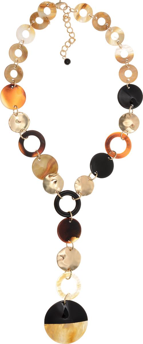 Колье Selena Accenta, цвет: золотистый, коричневый, черный. 10102651Колье (короткие одноярусные бусы)Колье Selena Accenta изготовлено из латуни с гальваническим покрытием золотом и ацетата. Изделие оснащено удобным замком-карабином. Итальянский ацетат - это дорогой высококачественный полимер, широко применяемый в модной индустрии. Он обладает удивительной особенностью имитировать самые разные природные рисунки и фактуры. Коллекция Accenta - это гимн современности! Модели выполнены в стиле элегантный кэжуал и глэм-рок, они органично впишутся в образ и молодых девушек, и взрослых женщин, чьи взгляды на моду свежи и открыты новому. Все украшения Accenta комплектуются между собой и создают гармоничный ансамбль. Украшения можно носить в любое время года, они уместны на празднике, на прогулке и на работе.