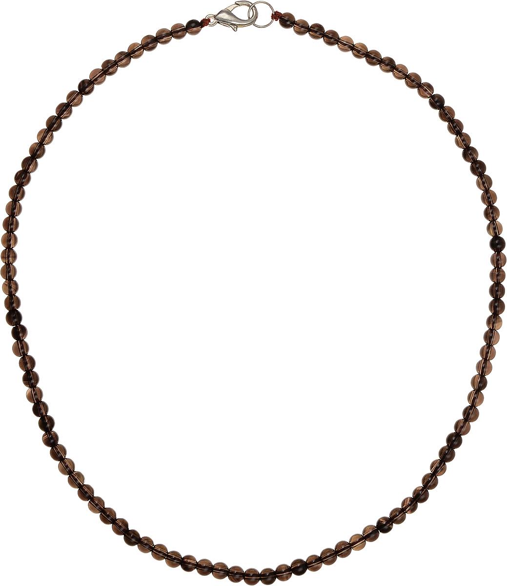 Бусы Art-Silver, цвет: коричневый, длина 40 см. РТ4-40-251Колье (короткие одноярусные бусы)Бусы Art-Silver подчеркнут изящество и непревзойденный вкус своей обладательницы. Они выполнены из бижутерного сплава и раухтопаза диаметром 4 мм.Изделие оснащено удобным замком-карабином.Раухтопаз (дымчатый кварц) является наиболее ценной разновидностью кварца и, по древним преданиям, выводит из организма негативную энергию, злобу и раздражение. Это один из самых «энергетических» темных камней. Минерал отличается необычной природной окраской, обладает особой утончённой эстетикой и аурой. Украшения с раухтопазами всегда смотрятся респектабельно и элегантно.