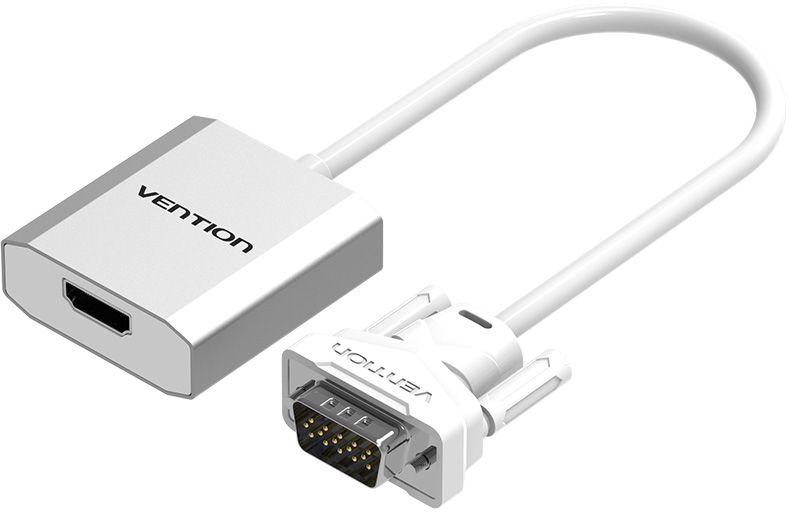 Vention ACEW0, Silver VGA-HDMI + аудио конвертер мультимедийныйACEW0Конвертер Vention ACEW0 преобразует аналоговый VGA видеосигнал в цифровой HDMI сигнал. Поддерживает передачу аудиосигнала. Таким образом вы можете подключить устройства со стандартом VGA к оборудованию с разъемом HDMI. Конвертер поддерживает технологию Plug and Play, тем самым, не требуя установки дополнительного программного обеспечения и драйверов. При подключении мониторов с большим разрешением, а также передаче видеосигнала посредством кабеля длиной более 3 метров, возможно, потребуется использование дополнительного питания через разъем microUSB. Поддержка разрешения до 1920x1080Чип передатчик: MS9282