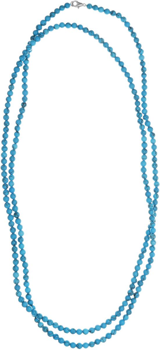 Бусы Art-Silver, цвет: голубой, длина 150 см. Б6-150-220Бусы-ниткаБусы Art-Silver выполнены из бижутерного сплава и бирюзы. Изделие оснащено удобным замком-карабином.