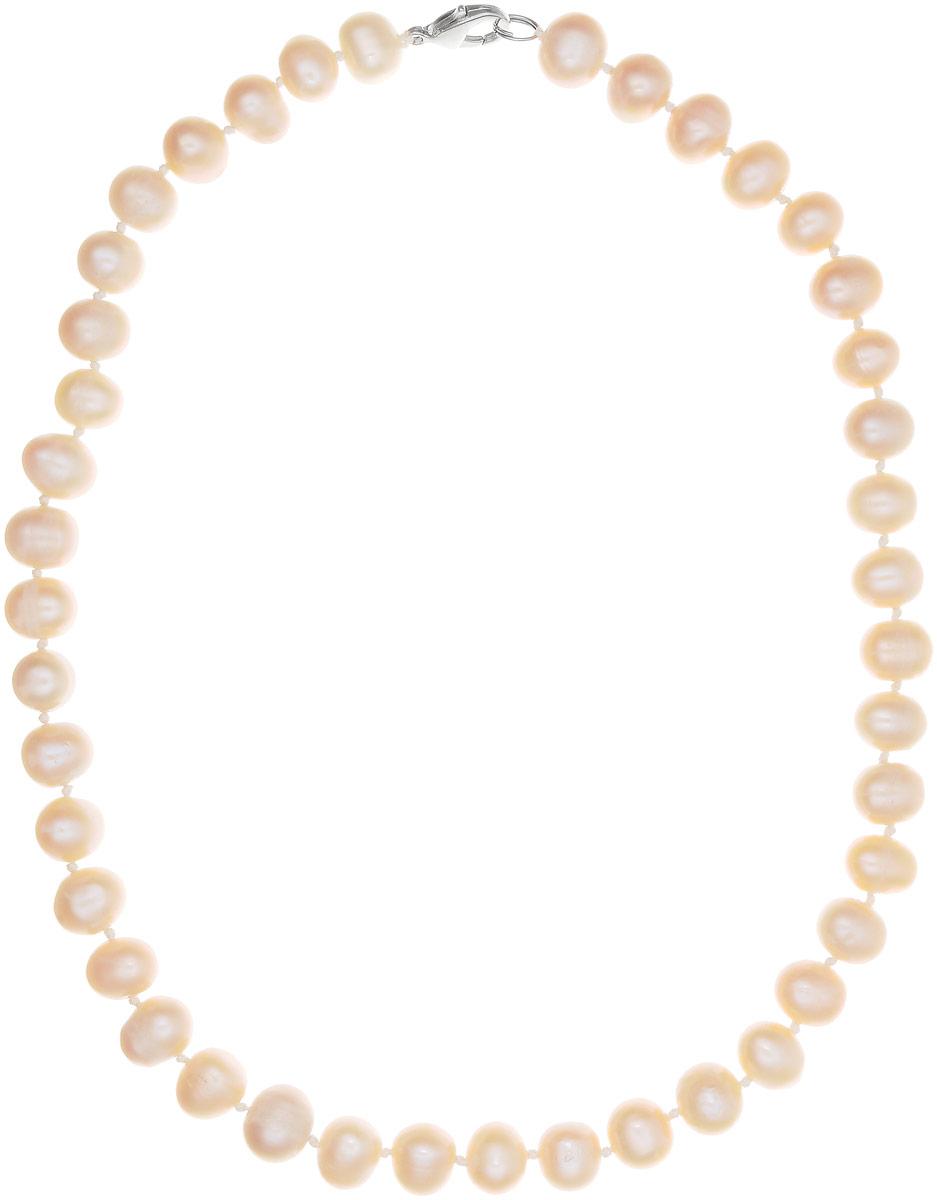 Бусы Art-Silver, цвет: пепельно-персиковый, длина 45 см. КЖр9-10А+45-464Бусы-ниткаБусы Art-Silver изготовлены из культивированного жемчуга. Изделие оформлено однотонными бусинами и застегивается на металлический замок-карабин.