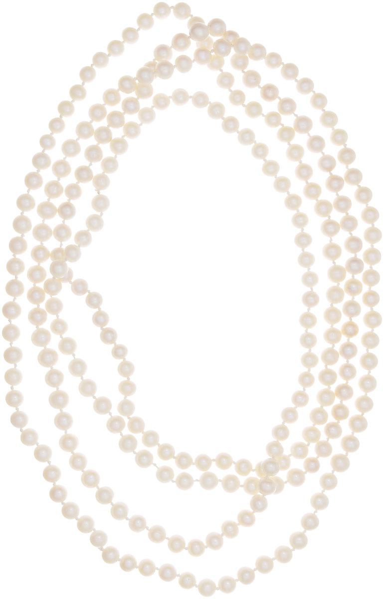 Бусы Art-Silver, цвет: белый, длина 200 см. КЖб8-9АА200-3740Бусы-ниткаБусы Art-Silver выполнены из бижутерного сплава и культивированного жемчуга. Изделие без застежки.