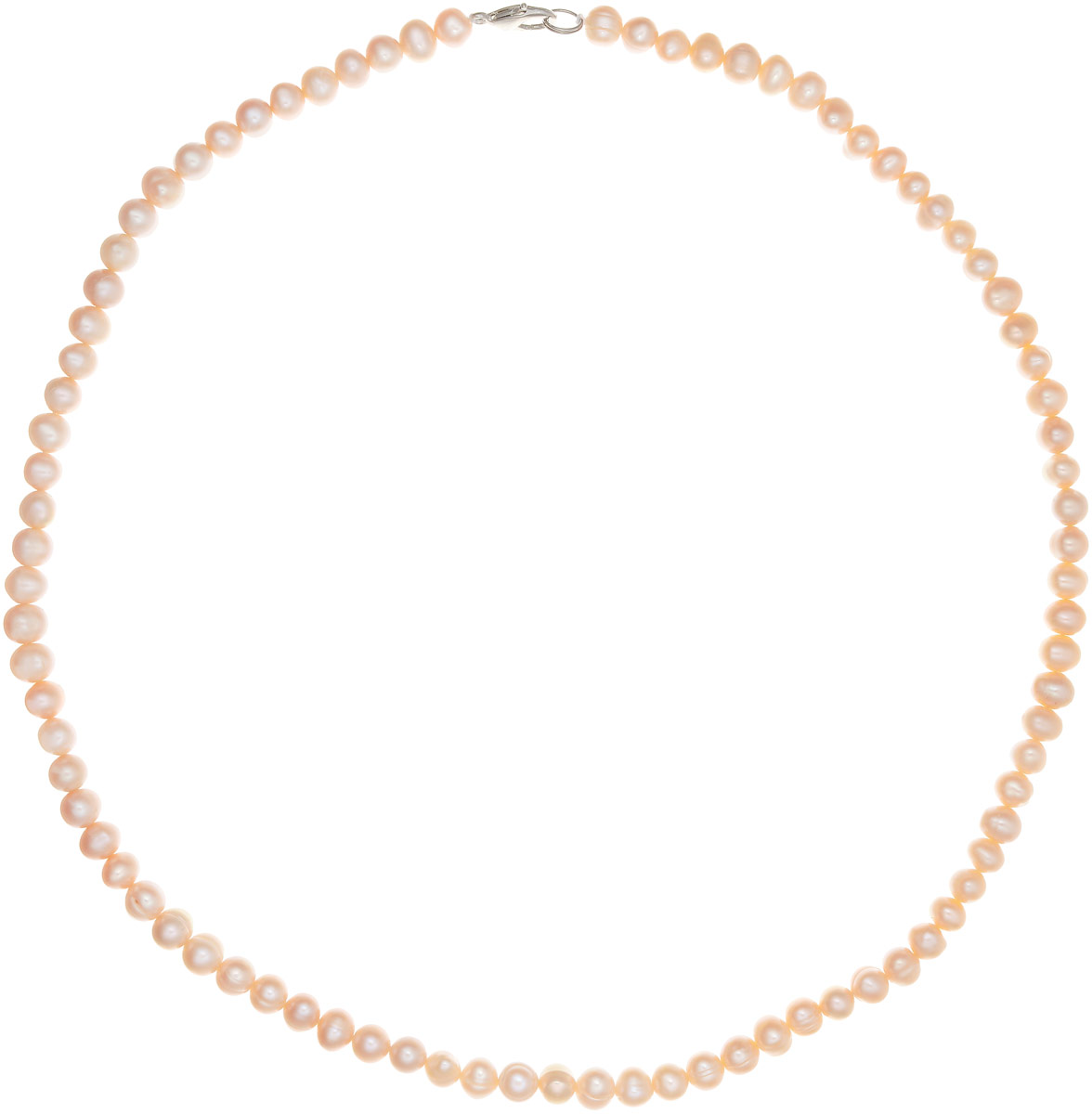 Бусы Art-Silver, цвет: персиковый, длина 55 см. КЖр6-7А+55-537Бусы-ниткаБусы Art-Silver выполнены из бижутерного сплава и культивированного жемчуга. Изделие оснащено удобным замком-карабином.