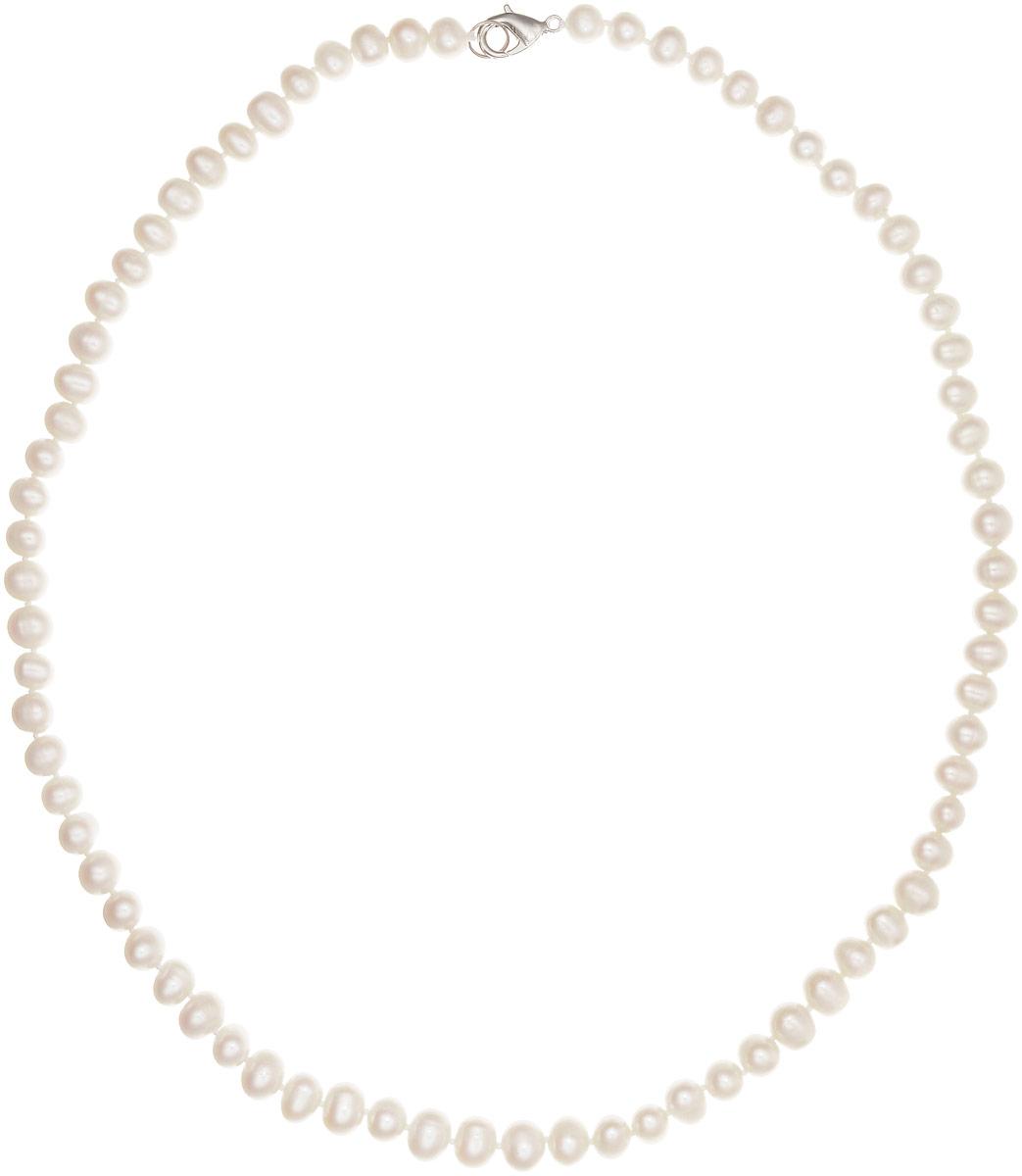 Бусы Art-Silver, цвет: молочный, длина 55 см. КЖб7-8А+55-660Бусы-ниткаБусы Art-Silver изготовлены из культивированного жемчуга. Изделие оформлено однотонными бусинами и застегивается на замок-карабин из бижутерного сплава.
