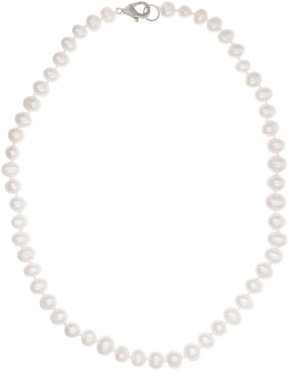 Бусы Art-Silver, цвет: белый, длина 40 см. КЖб7-8А+40-489Бусы-ниткаБусы Art-Silver изготовлены из культивированного жемчуга. Изделие оформлено однотонными бусинами и застегивается на замок-карабин из бижутерного сплава.