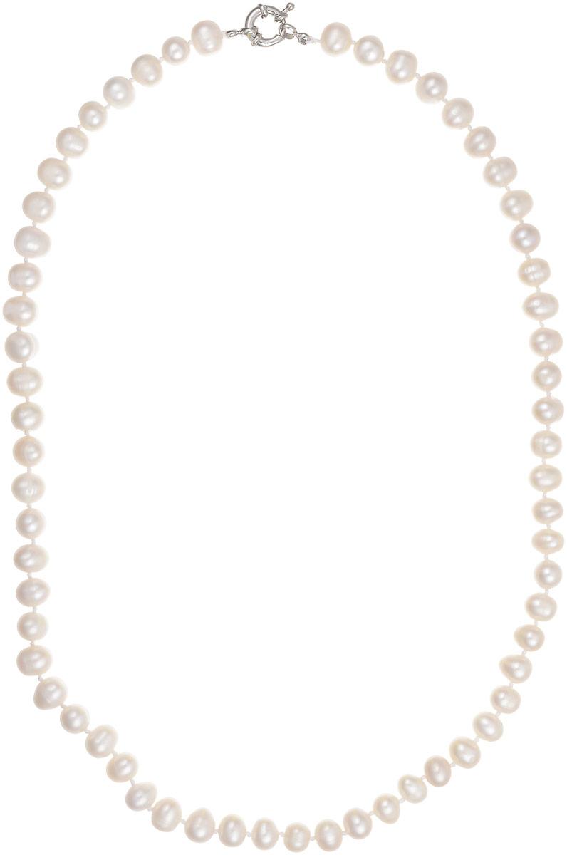 Бусы Art-Silver, цвет: белый, длина 55 см. КЖб8-9А+55-757Колье (короткие одноярусные бусы)Бусы Art-Silver выполнены из культивированного жемчуга, нанизанного на текстильную нить. Украшение имеет удобный крупный шпренгельный замок.Мелкие бусины диаметром 6-8 мм из натурального культивированного жемчуга имеют слегка неоднородную форму, что подчеркивает естественное происхождение жемчужин.