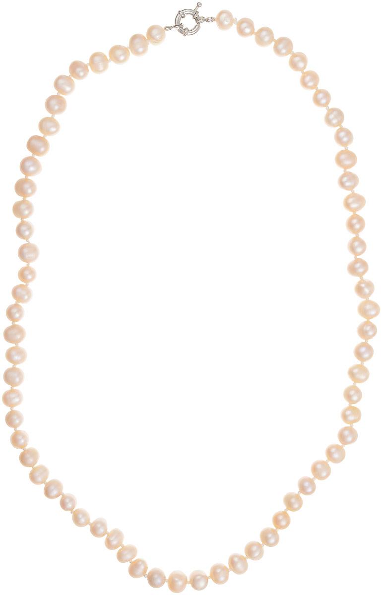 Бусы Art-Silver, цвет: персиковый, длина 60 см. КЖр8-9А+60-806Бусы-ниткаБусы Art-Silver выполнены из бижутерного сплава и культивированного жемчуга. Изделие оснащено удобной шпренгельной застежкой.