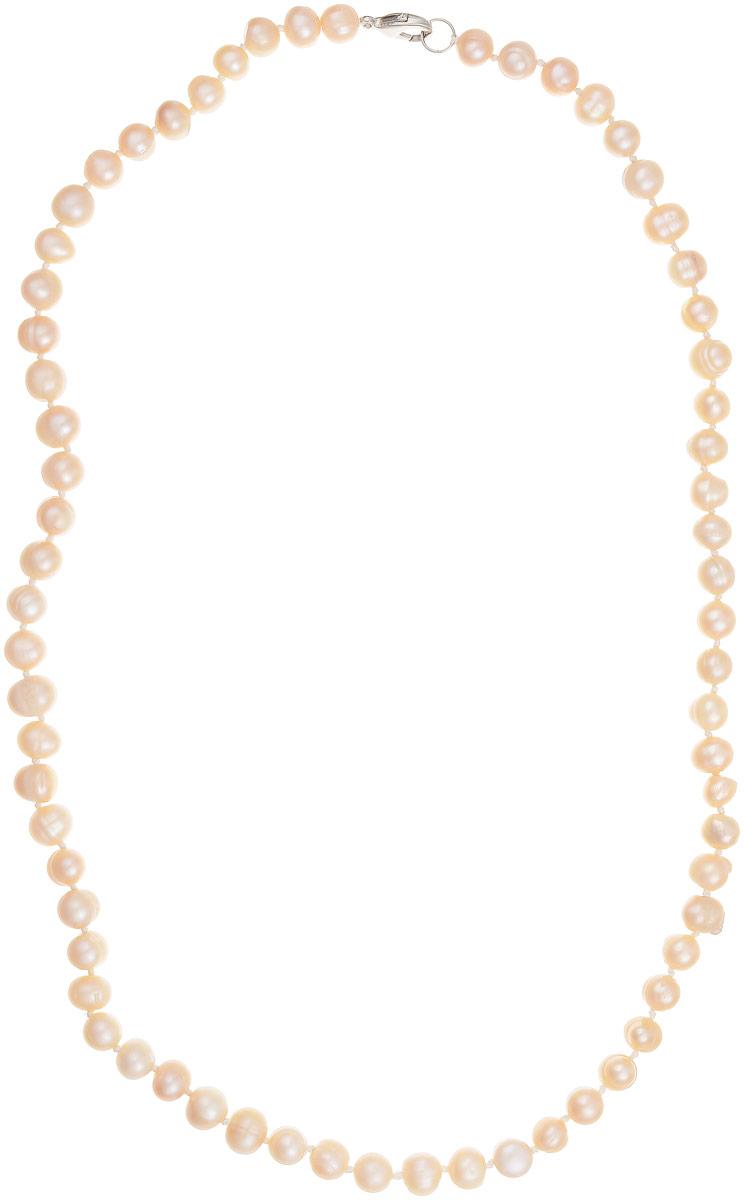 Бусы Art-Silver, цвет: светло-бежевый, длина 60 см. КЖр8-9А60-513Бусы-ниткаБусы Art-Silver выполнены из культивированного жемчуга, нанизанного на текстильную нить. Украшение имеет удобную застежку-карабин.Мелкие бусины диаметром 6-8 мм из натурального культивированного жемчуга нежно-бежевого цвета имеют слегка неоднородную форму, что подчеркивает естественное происхождение жемчужин.