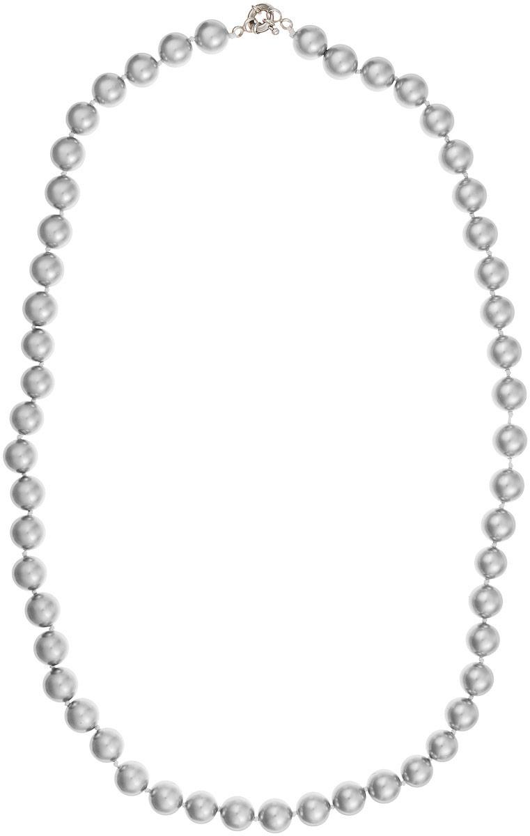 Бусы Art-Silver, цвет: серый металлик, длина 60 см. МАЙ31060-593Бусы-ниткаБусы Art-Silver изготовлены из материала майорика, который схож по свойствам с натуральным жемчугом. Изделие оформлено однотонными бусинами и застегивается на шпренгельный замок из бижутерного сплава.