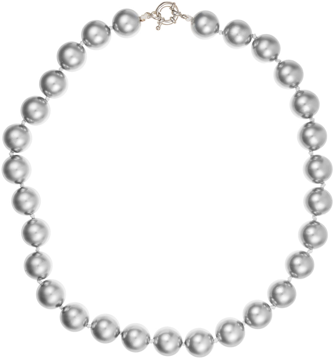 Бусы Art-Silver, цвет: серебристый, длина 45 см. МАЙ31445-729Бусы-ниткаБусы Art-Silver выполнены из имитации жемчуга, нанизанного на текстильную нить. Украшение дополнено крупным удобным шпренгельным замочком из бижутерного сплава.Крупные бусины диаметром 14 мм выполнены в оригинальном серебристом цвете. Материал бусин по свойствам и виду максимально близок к натуральному жемчугу.