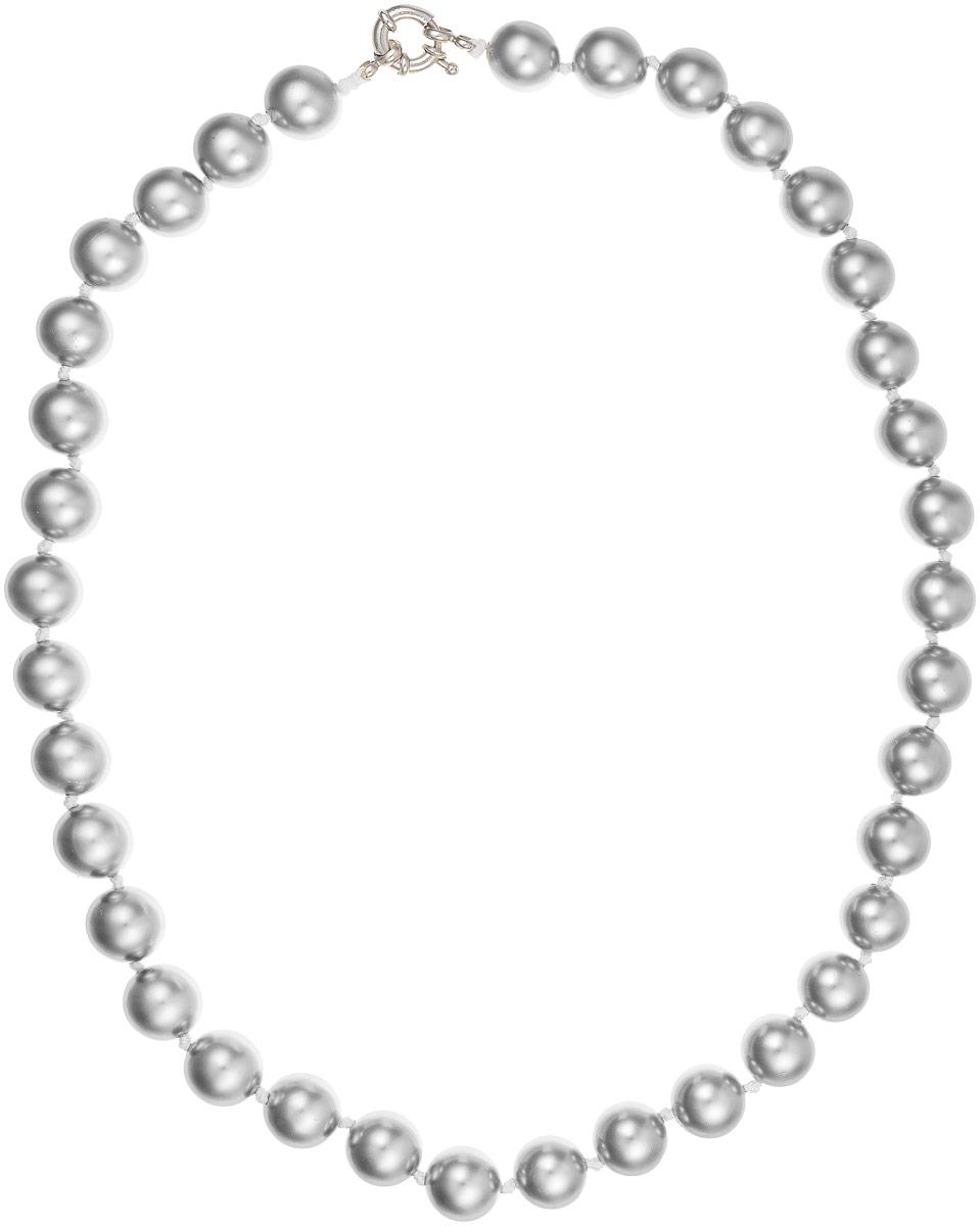 Бусы Art-Silver, цвет: серый металлик, длина 50 см. МАЙ31250-594Бусы-ниткаБусы Art-Silver изготовлены из материала майорка, который схож по свойствам с натуральным жемчугом. Изделие оформлено крупными однотонными бусинами и застегивается на шпренгельный замок из бижутерного сплава..