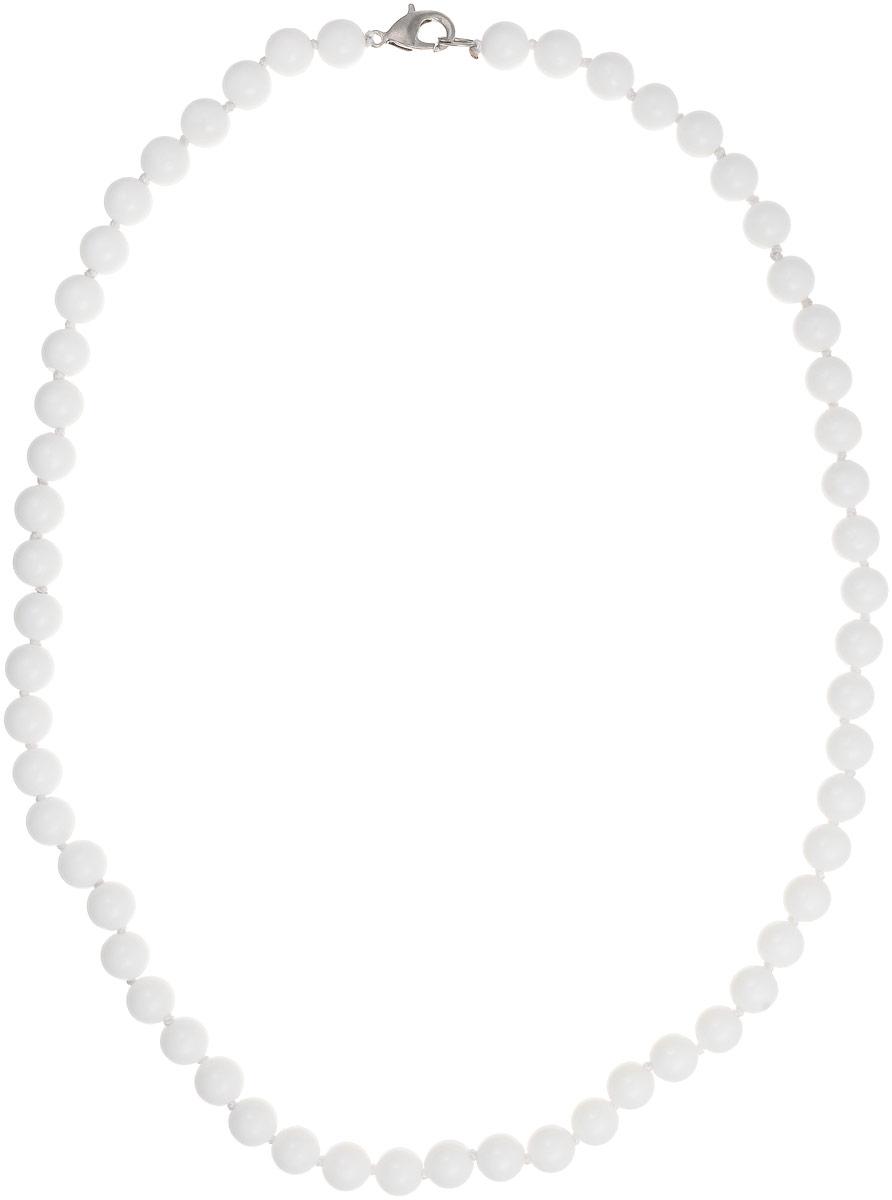 Бусы Art-Silver, цвет: белый, длина 50 см. КХ8-50-243Бусы-ниткаБусы Art-Silver выполнены из бижутерного сплава и кахолонга. Изделие оснащено удобным замком-карабином.