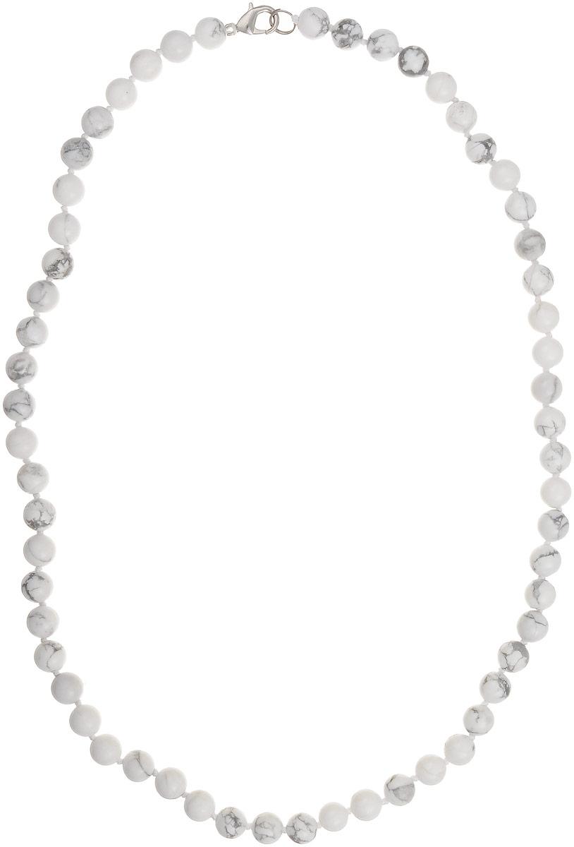 Бусы Art-Silver, цвет: серый, белый, длина 55 см. КХс8-55-282Бусы-ниткаБусы Art-Silver выполнены из бижутерного сплава и кахолонга. Изделие оснащено удобным замком-карабином.