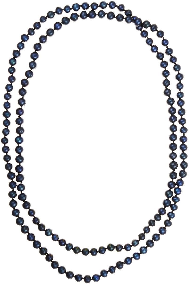 Бусы Art-Silver, цвет: черно-синий, длина 120 см. КЖ7-8АА120-2273Бусы-ниткаБусы Art-Silver выполнены из культивированного жемчуга, нанизанного на текстильную нить. Украшение не имеет замочка, благодаря чему его легко надевать и снимать.Мелкие бусины диаметром 6-8 мм из натурального культивированного жемчуга благородного черного цвета с синим отливом имеют слегка неоднородную форму, что подчеркивает естественное происхождение жемчужин.