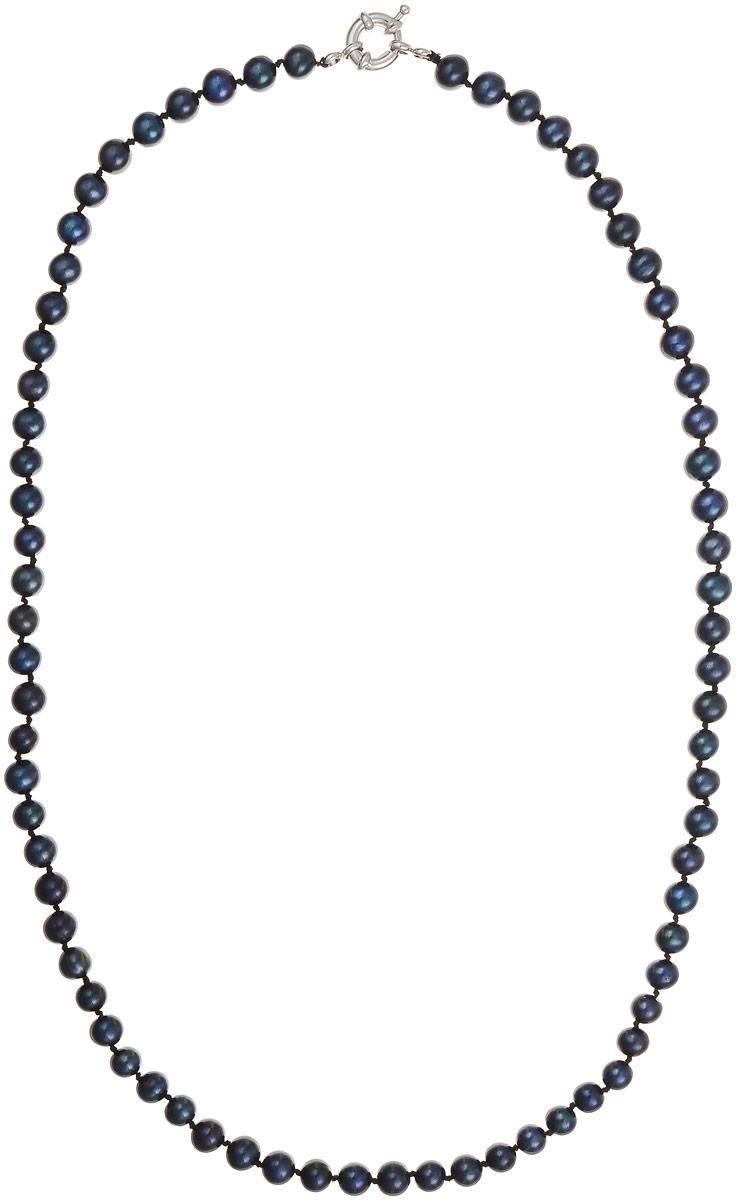 Бусы Art-Silver, цвет: черно-синий, длина 60 см. КЖ6-7АА+60-1563Бусы-ниткаБусы Art-Silver выполнены из бижутерного сплава и культивированного жемчуга. Изделие оснащено удобной шпренгельной застежкой.