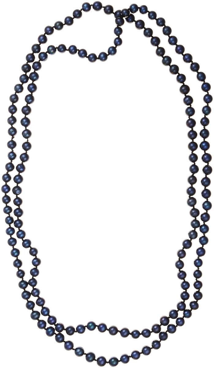 Бусы Art-Silver, цвет: темно-синий, длина 120 см. КЖ6-7АА+120-3128Бусы-ниткаБусы Art-Silver изготовлены из культивированного жемчуга. Длинное изделие оформлено однотонными бусинами.