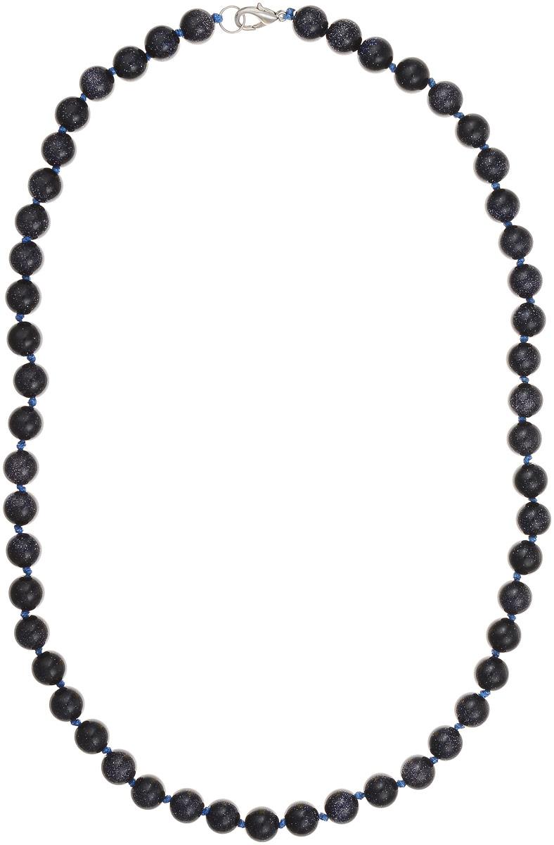 Бусы Art-Silver, цвет: темно-синий, длина 55 см. Ав10-55-464Бусы-ниткаБусы Art-Silver выполнены из авантюрина, нанизанного на текстильную нить. Украшение застегивается на практичный карабин из бижутерного сплава. Бусины диаметром 8 мм имеют характерный для натурального авантюрина блеск, напоминающий множество блесток, заключенных внутри камня, благодаря чему такие бусы красиво играют на свету. Нить окрашена в синий цвет, что подчеркивает оригинальные переливы бусин.