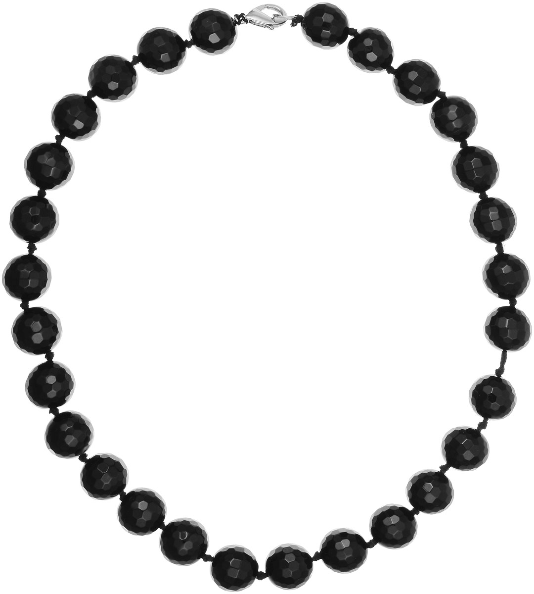 Бусы Art-Silver, цвет: черный, длина 50 см. ЧГ16-50-891Бусы-ниткаБусы Art-Silver изготовлены из агата. Изделие оформлено круглыми рельефными бусинами и застегивается на замок-карабин из бижутерного сплава.