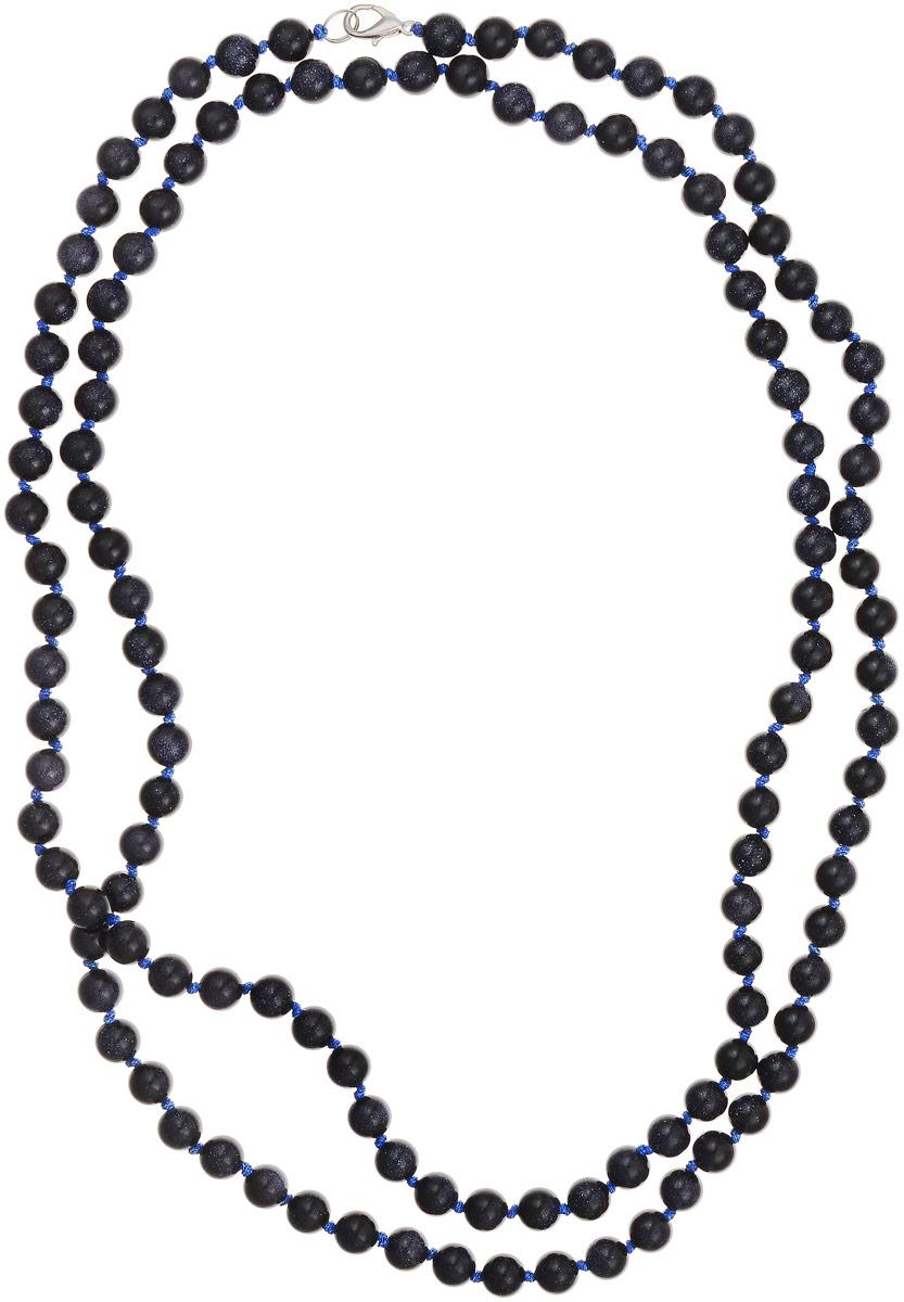 Бусы Art-Silver, цвет: темно-синий, длина 120 см. Ав8-120-571Бусы-ниткаБусы Art-Silver выполнены из авантюрина, нанизанного на текстильную нить. Украшение застегивается на практичный карабин из бижутерного сплава. Бусины диаметром 6 мм имеют характерный для натурального авантюрина блеск, напоминающий множество блесток, заключенных внутри камня, благодаря чему такие бусы красиво играют на свету. Нить окрашена в синий цвет, что подчеркивает оригинальные переливы бусин.