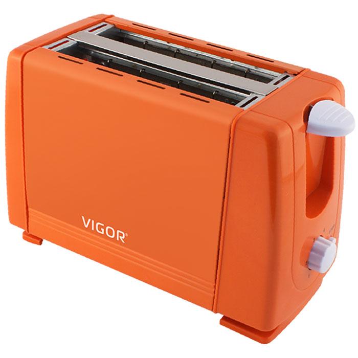 Vigor HX-6015, Orange тостерHX-6015Тостер Vigor HX-6015 представляет собой сочетание удобства и функциональности. Вы можете регулировать степень поджаривания хлеба (доступно 6 режимов) по вашему вкусу. Кнопка отмена поможет вовремя исправить сделанную спросонья ошибку. Ухаживать за тостером легко и приятно благодаря наличию поддона для крошек. Тостер выжигает рожицу медвежонка на хлебе.