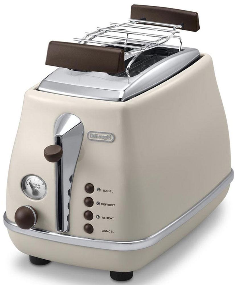 DeLonghi CTOV 2103, Beige тостерCTOV2103.BGЛаконичный тостер DeLonghi CTOV 2103 оснащен удобным кнопочным управлением и регулятором степени прожарки тостов. Решетка из нержавеющей стали предназначена для подогрева булочек и круассанов. Ножки тостера имеют специальное нескользящее покрытие, благодаря им прибор устойчиво располагается на рабочей поверхности. Готовые тосты высоко поднимаются над нагретой поверхностью прибора, это исключает вероятность ожогов и повышает безопасность эксплуатации.