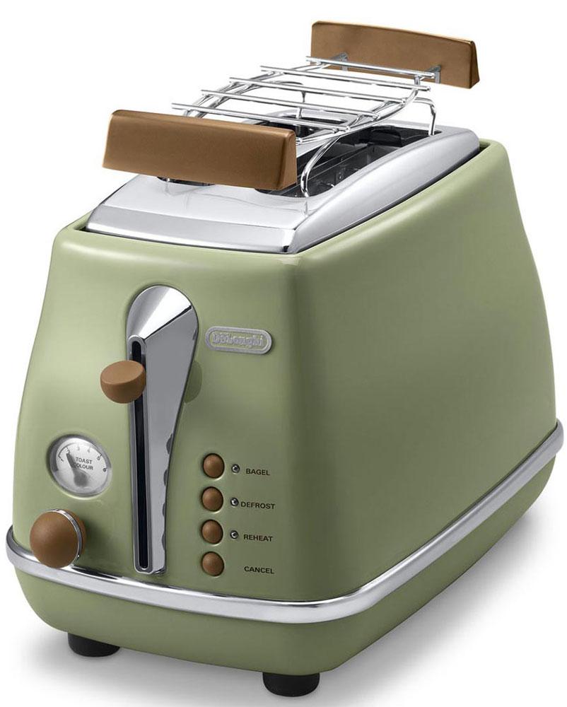 DeLonghi CTOV 2103, Green тостерCTOV2103.GRЛаконичный тостер DeLonghi CTOV 2103 оснащен удобным кнопочным управлением и регулятором степени прожарки тостов. Решетка из нержавеющей стали предназначена для подогрева булочек и круассанов. Ножки тостера имеют специальное нескользящее покрытие, благодаря им прибор устойчиво располагается на рабочей поверхности. Готовые тосты высоко поднимаются над нагретой поверхностью прибора, это исключает вероятность ожогов и повышает безопасность эксплуатации.
