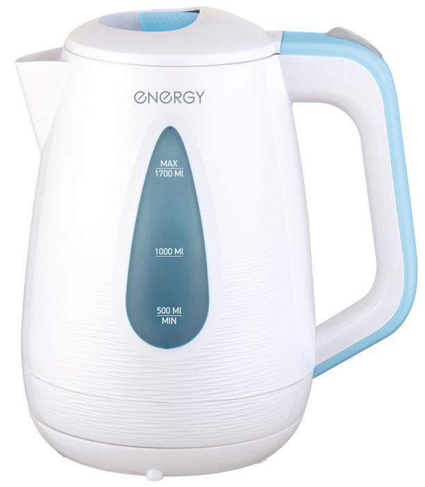 Energy E-214, White Blue электрический чайник54 153118Электрический чайник Energy E-214 прост в управлении и долговечен в использовании. Изготовлен из высококачественных материалов. Прозрачное окошко позволяет определить уровень воды. Мощность 2200 Вт позволит вскипятить 1,7 литра воды в считанные минуты. Беспроводное соединение позволяет вращать чайник на подставке на 360°. Для обеспечения безопасности при повседневном использовании предусмотрены функция автовыключения, а также защита от включения при отсутствии воды.