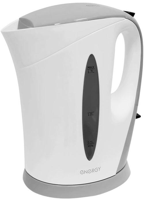 Energy E-215, White Grey электрический чайник54 153256Электрический чайник Energy E-215 прост в управлении и долговечен в использовании. Изготовлен из высококачественных материалов. Прозрачное окошко позволяет определить уровень воды. Мощность 2200 Вт позволит вскипятить 1,7 литра воды в считанные минуты. Для обеспечения безопасности при повседневном использовании предусмотрены функция автовыключения, а также защита от включения при отсутствии воды.