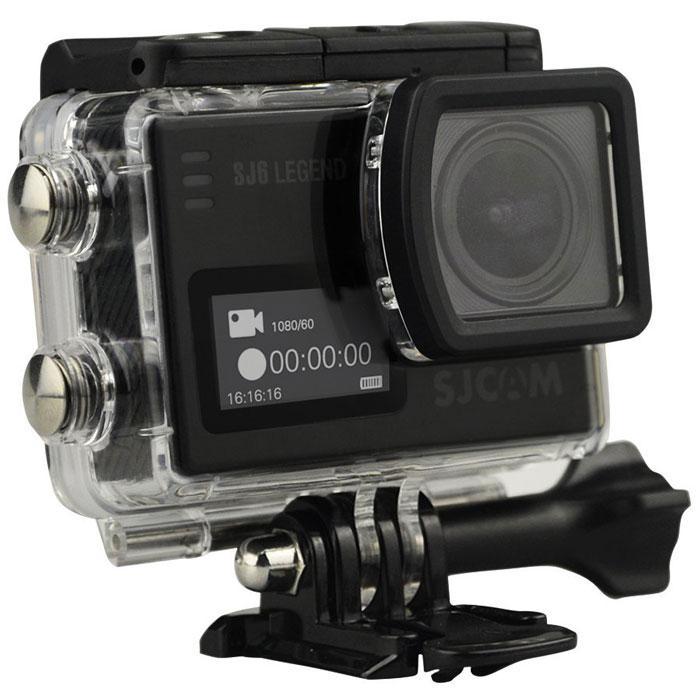 SJCAM SJ6 Legend, Black экшн-камераSJ6LEGEND_BlackSJCAM SJ6 Legend - самая продвинутая модель экшн-камеры от SJCAM. При своих мини-размерах (40 мм х 37 мм х 48 мм) и ультра-легком весе (55 грамм включая батарею) данная камера обладает мощным техническим оснащением и широким функционалом. За съемку фото и видео отвечает новейшая оптика и 16 Мпикс сенсор от Panasonic MN34120PA.Объектив у камеры – широкоугольный (166 градусов) с возможностью изменения угла обзора. Встроенный Gyro-сенсор стабилизирует изображение и полностью устраняет мелкую тряску. Съемка возможна в .mp4 и .mov формате. Фотографии возможны как в формате .raw, так и .jpg.На оборотной стороне расположен сенсорный экран-видоискатель с диагональю 2 дюйма, спереди появился удобный информационный экран размером 0,96 дюйма. Благодаря съемному аквабоксу камера может снимать под водой на глубине до 30 метров. Так же имеется специальный underwater режим для восстановления красного цвета при съемке. На поверхности аквабокс может выполнять защитную функцию.Запись звука у SJ6 Legend — значительно лучше чем на других моделях SJCAM. У этой модели впервые появилась поддержка внешних микрофонов, благодаря которым качество записи звука выходит на новый уровень. Звук с внешним микрофоном пишется громко, четко, без каких-либо посторонних шумов.Теперь, помимо Wi-Fi модуля, камера оснащена Bluetooth который позволяет управлять камерой с помощью специальной дистанционной кнопки.Наличие встроенного модуля Wi-Fi дает возможность легко управлять экшн-камерой даже на расстоянии до десяти метров, а также транслировать изображение на экран вашего мобильно устройства и скачивать отснятые фото и видео материалы напрямую. Для этого будет нужно просто скачать и установить специальное приложение SJCAM ZONE, подходящее для операционных систем Android и iOS.Камера обладает съемным аккумулятором на 1000 мАч с возможностью горячей замены. Конструкция крышки батарейного отсека стала удобнее, теперь вы можете заменить батарею за 5 секунд. Бл