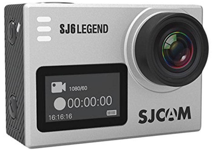 SJCAM SJ6 Legend, Silver экшн-камераSJ6LEGEND_SilverSJCAM SJ6 Legend - самая продвинутая модель экшн-камеры от SJCAM. При своих мини-размерах (40 мм х 37 мм х 48 мм) и ультра-легком весе (55 грамм включая батарею) данная камера обладает мощным техническим оснащением и широким функционалом. За съемку фото и видео отвечает новейшая оптика и 16 Мпикс сенсор от Panasonic MN34120PA.Объектив у камеры - широкоугольный (166 градусов) с возможностью изменения угла обзора. Встроенный Gyro-сенсор стабилизирует изображение и полностью устраняет мелкую тряску. Съемка возможна в .mp4 и .mov формате. Фотографии возможны как в формате .raw, так и .jpg.На оборотной стороне расположен сенсорный экран-видоискатель с диагональю 2 дюйма, спереди появился удобный информационный экран размером 0,96 дюйма. Благодаря съемному аквабоксу камера может снимать под водой на глубине до 30 метров. Так же имеется специальный underwater режим для восстановления красного цвета при съемке. На поверхности аквабокс может выполнять защитную функцию.Запись звука у SJ6 Legend - значительно лучше чем на других моделях SJCAM. У этой модели впервые появилась поддержка внешних микрофонов, благодаря которым качество записи звука выходит на новый уровень. Звук с внешним микрофоном пишется громко, четко, без каких-либо посторонних шумов.Теперь, помимо Wi-Fi модуля, камера оснащена Bluetooth который позволяет управлять камерой с помощью специальной дистанционной кнопки.Наличие встроенного модуля Wi-Fi дает возможность легко управлять экшн-камерой даже на расстоянии до десяти метров, а также транслировать изображение на экран вашего мобильно устройства и скачивать отснятые фото и видео материалы напрямую. Для этого будет нужно просто скачать и установить специальное приложение SJCAM ZONE, подходящее для операционных систем Android и iOS.Камера обладает съемным аккумулятором на 1000 мАч с возможностью горячей замены. Конструкция крышки батарейного отсека стала удобнее, теперь вы можете заменить батарею за 5 секунд. 