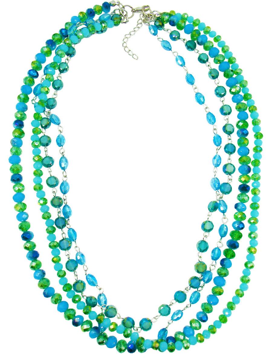Колье Taya, цвет: бирюзовый, зеленый. T-B-10133-NECK-ML.BLUEБусы-ниткаСтильное колье модного дизайна поможет создать уникальный и запоминающийся образ. Выполнена модель из гипоаллергенного бижутерного сплава. Создано из нежных соединенных между собой бусин. Колье имеет надежную застежку-карабин с регулирующей длину цепочкой.