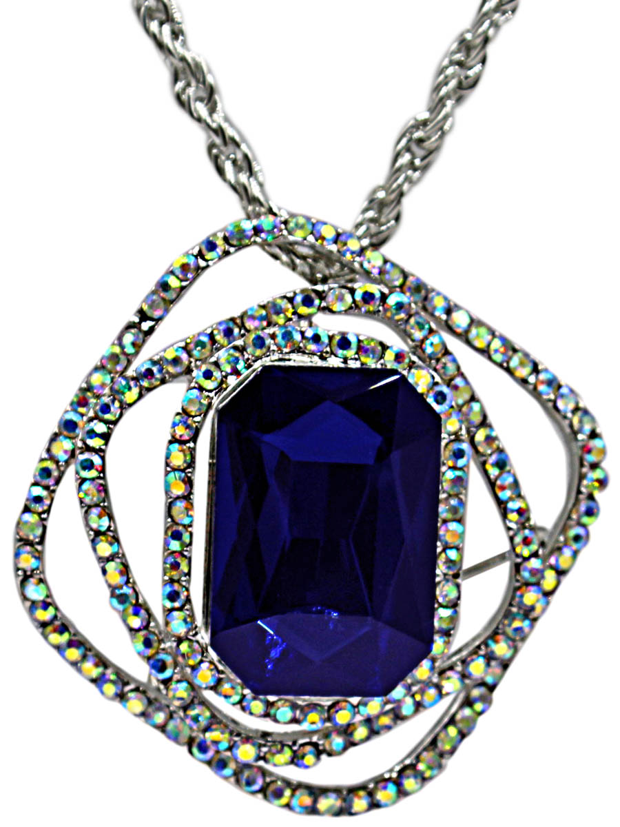 Брошь-кулон с цепочкой Taya, цвет: серебристый, темно-синий. T-B-10892-NECK-SL.D.BLUEАжурная брошьБрошь-кулон на цепочке с удлинением изготовлен из бижутерного сплава. В центре кулона крупный идеально ограненный ультрамариновый кристалл. Вокруг него нагромождение геометрических фигур с блестящими стразами.