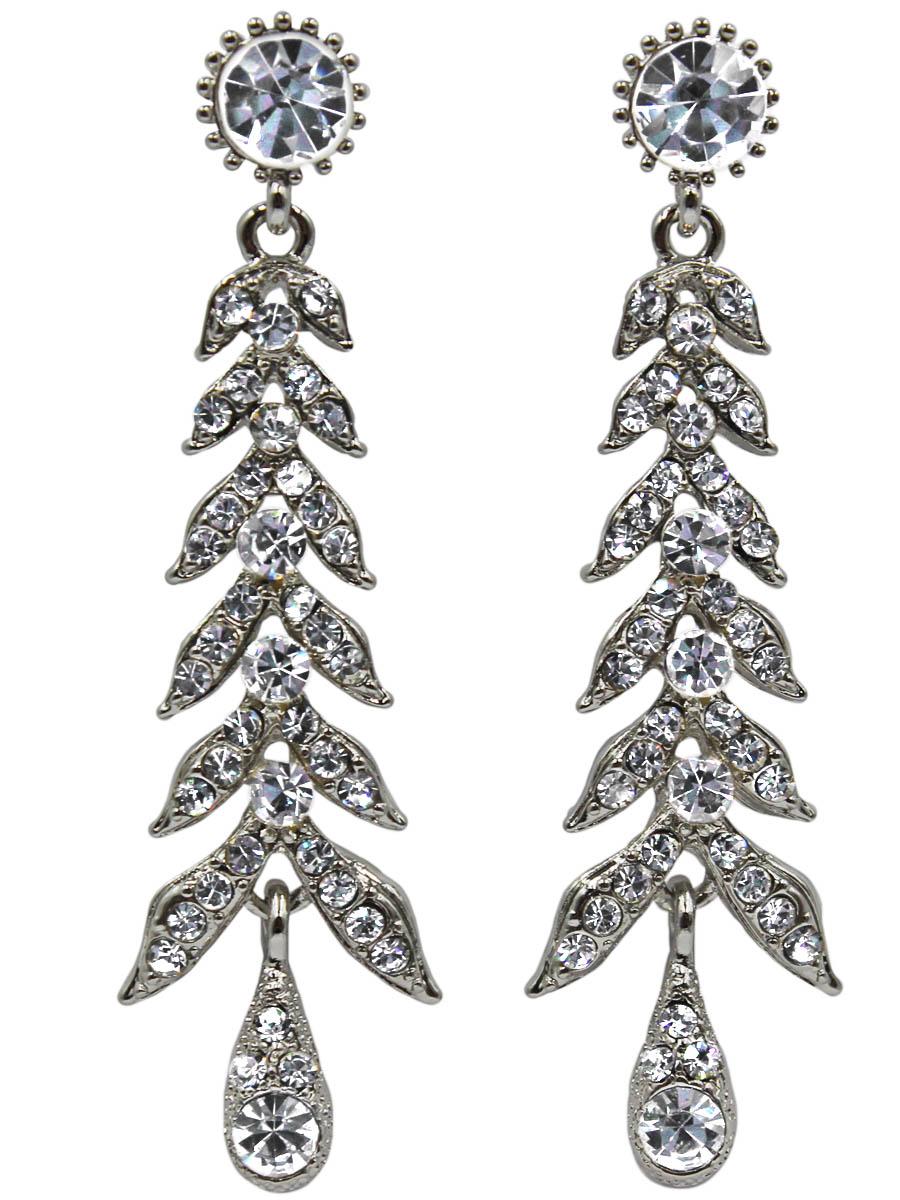 Серьги Taya, цвет: серебристый. T-B-11343-EARR-SILVERПуссеты (гвоздики)Серьги-гвоздики с заглушкой металл-пластик изготовлены из бижутерного сплава. Выполнены в виде колоска с прозрачными зернышками-кристаллами.